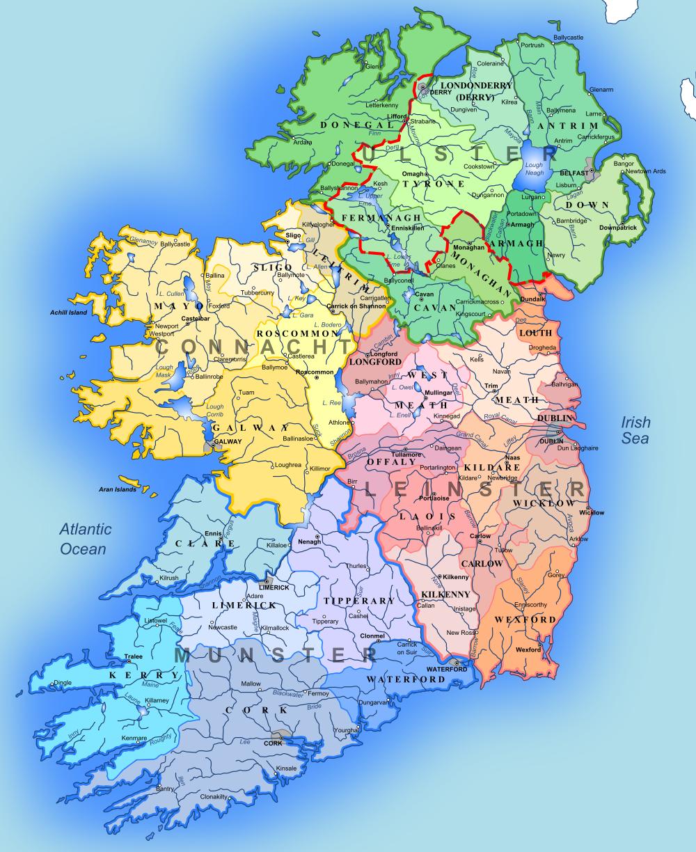 irland karte kostenlos Map of Ireland (Regions) : Weltkarte.  Karten und Stadtpläne