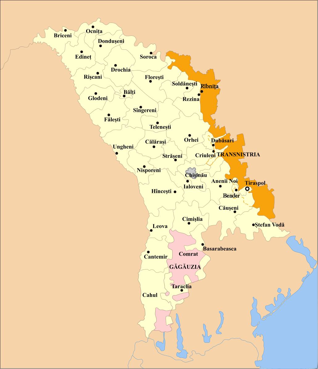 Map Of Moldova Administrative Divisions Worldofmaps Net
