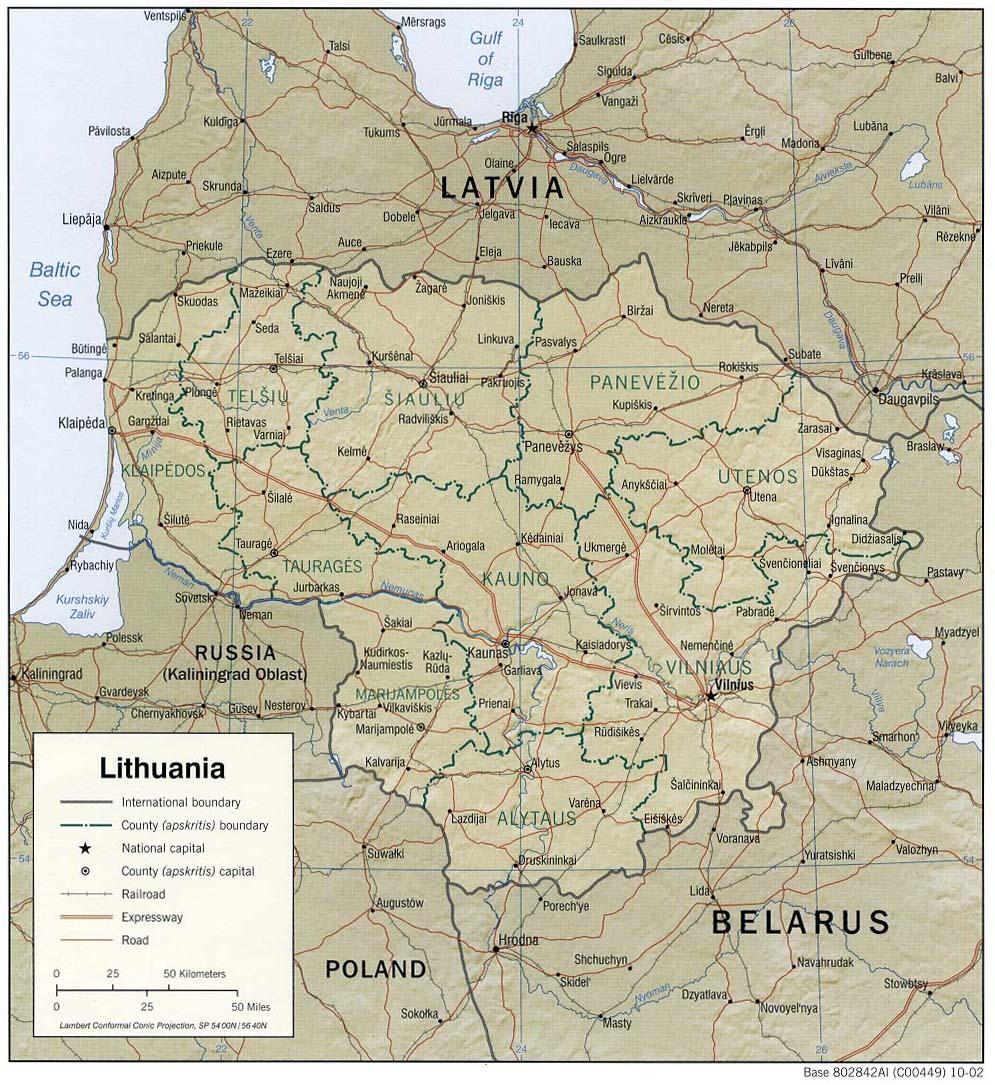 Map of Lithuania (Relief Map) : Weltkarte.com - Karten und ...